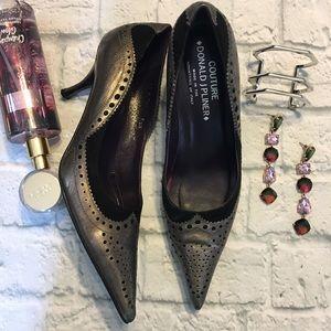 Donald J Pliner heels 7.5 gunmetal silver black